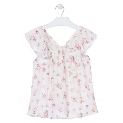 Camisa Losan niña junior flores sin mangas