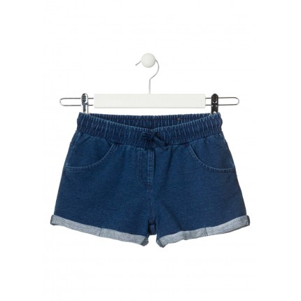 Short Denim Losan niña junior básico con cordón
