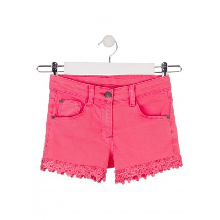 Short Losan niña junior cinco bolsillos con puntilla