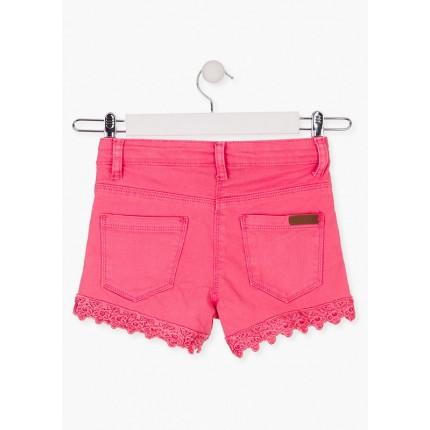 Parte trasera Short Losan niña junior cinco bolsillos con puntilla