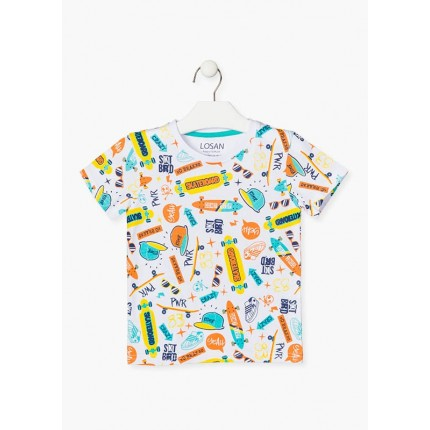 camiseta losan kids niño skateboard manga corta