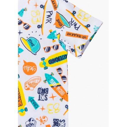 detalle estampado camiseta losan kids niño skateboard manga corta