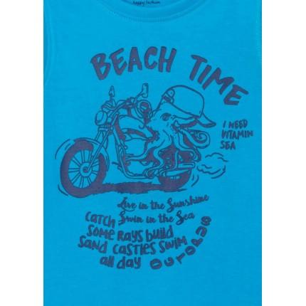 Detalle estampado Camiseta Losan Kids niño infantil Beach Time sin mangas