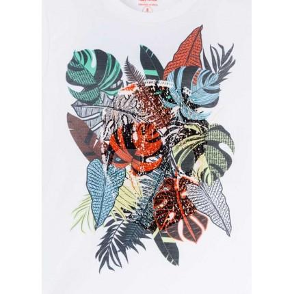 Detalle estampado con lentejuelas que esconden una calavera Camiseta Losan niño junior calavera oculta manga corta