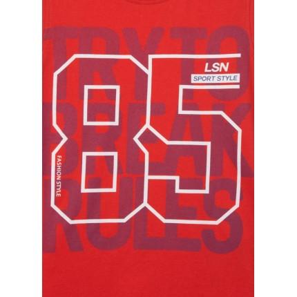 Detalle estampado Camiseta Losan Junior niño Try To Break Rules sin mangas Rojo