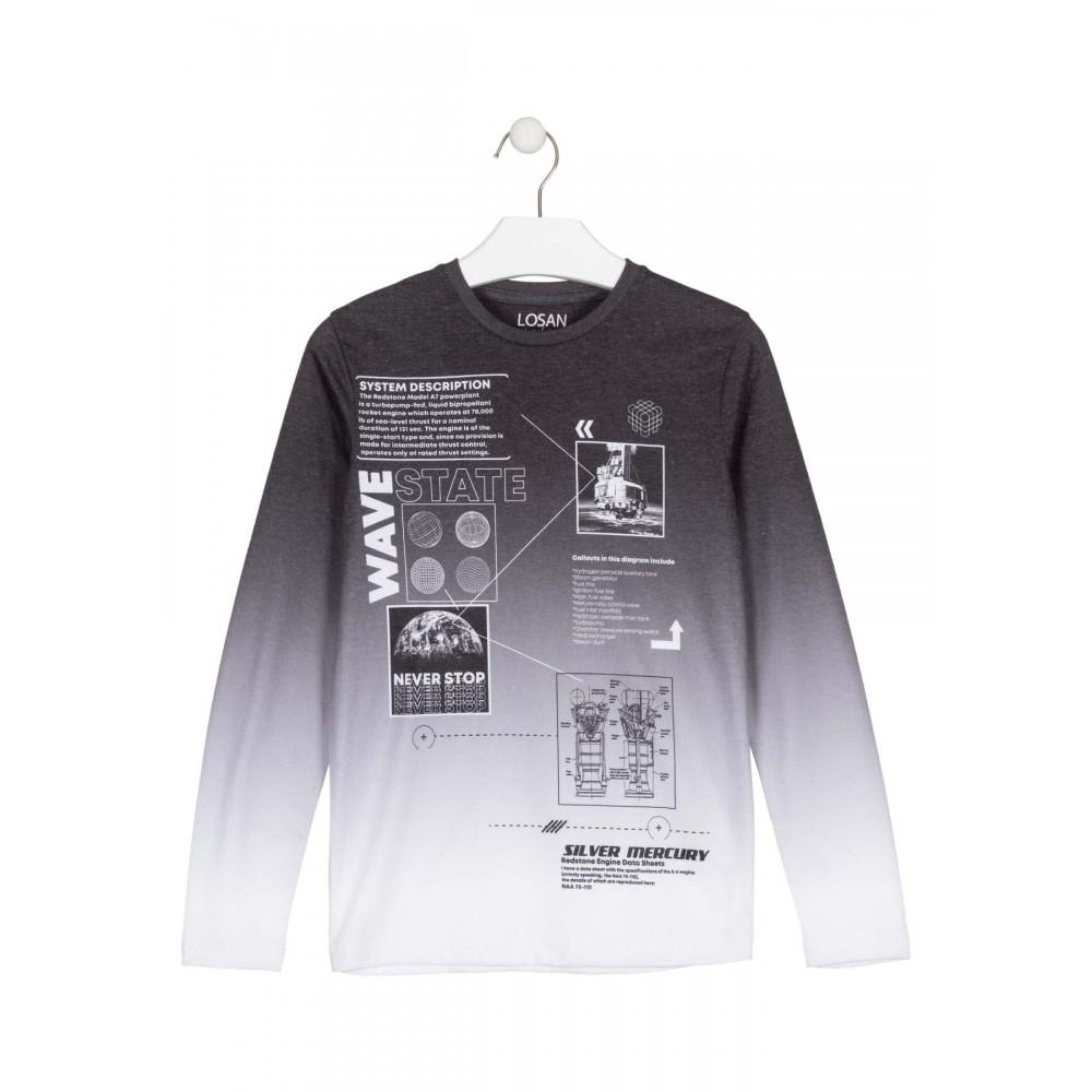 Camiseta Losan niño junior Wave State manga larga