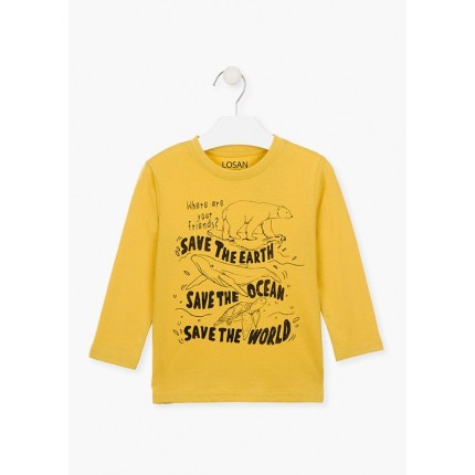 Camiseta Losan Kids niño Save the world infantil manga larga
