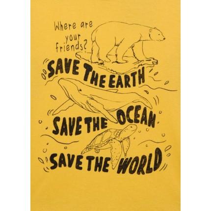 Detalle estampado Camiseta Losan Kids niño Save the world infantil manga larga