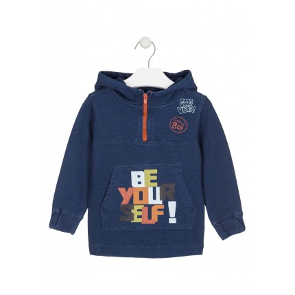 Sudadera Denim Losan Kids niño Be your self! capucha canguro
