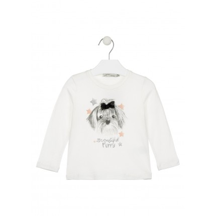 Camiseta Losan Chic Collection niña Beautiful Puppy infantil manga larga