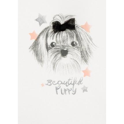 Detalle estampado Camiseta Losan Chic Collection niña Beautiful Puppy infantil manga larga
