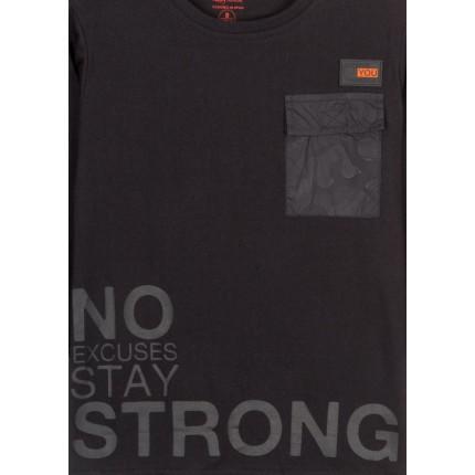 Detalle estampado Camiseta Losan niño No Excuses junior manga larga