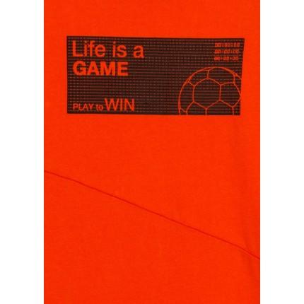 Detalle estampado Camiseta Losan niño Life is a GAME junior manga larga