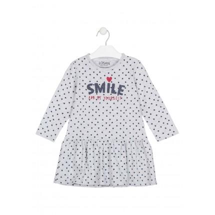 Vestido Losan Kids niña infantil Smile and be Yourself manga larga