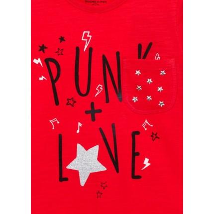 Detalle estampado Camiseta Losan Kids niña Punk Style infantil manga larga