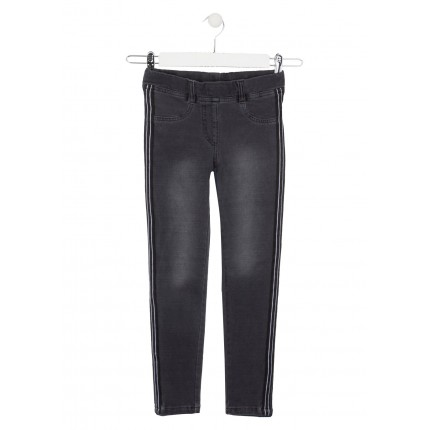 Pantalón Denim Losan niña junior Black banda lateral