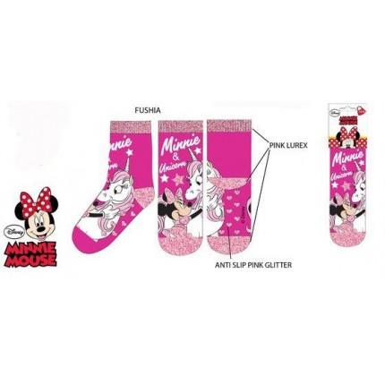 Calcetines Antideslizantes Minnie Mouse Unicornios niña Disney Fucsia