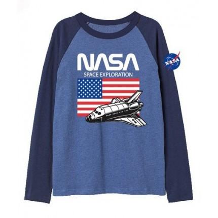 Camiseta Nasa niño bandera USA manga larga Azul