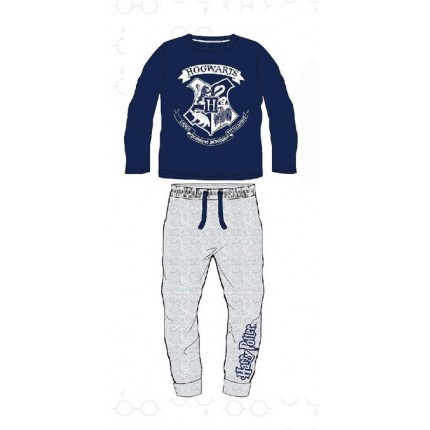 Pijama Harry Potter niño Escuela Hogwarts manga larga Azul marino