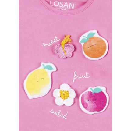 Detalle apliques y bordado Conjunto Losan Baby Sweet Fruit Salad con diadema 3 piezas