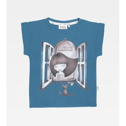Camiseta Anekke Seaside niña gatito Towanda con dobladillo real