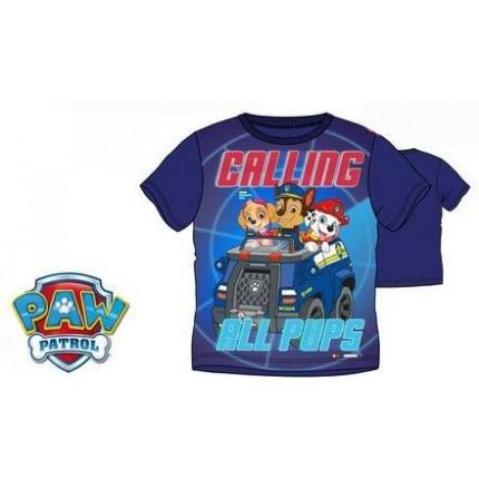 Camiseta Paw Patrol niño manga corta con Skye, Marshall y Chase en azul marino. Patrulla Canina.