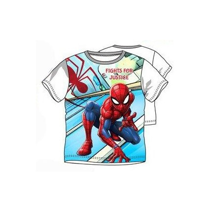Camiseta Spider-man niño Fights for Justice manga corta en blanco