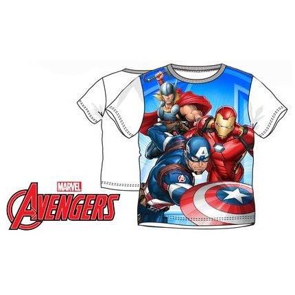 Camiseta Vengadores niño manga corta con Thor, Capitán América y Iron Man en blanco