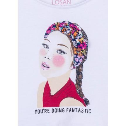Detalle estampado aplique lazo en el dibujo de Camiseta Losan Good girl niña junior top