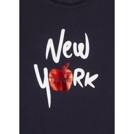 Detalle estampado Camiseta Losan niña junior I Love New York manga corta