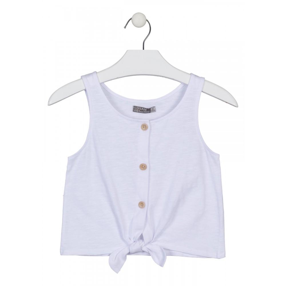 Camiseta Losan niña junior tirantes abotonada con nudo corta