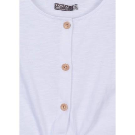 Detalle cierre Camiseta Losan niña junior tirantes abotonada con nudo corta