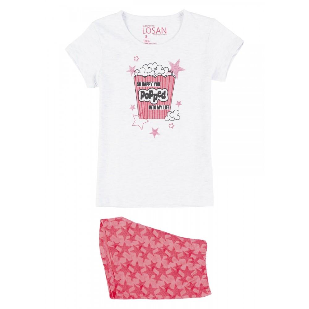 Pijama Losan niña junior Popped manga corta y pantalón corto estampado con estrellas