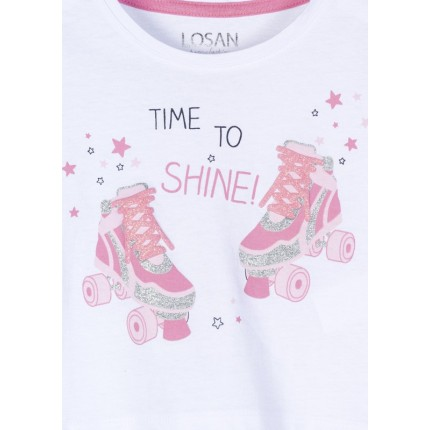 Detalle estampado Camiseta Losan Kids niña Time to Shine! manga corta