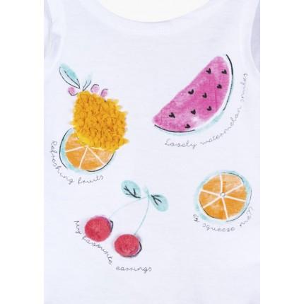 Detalle estampado Camiseta Losan Kids niña Fruits tirantes
