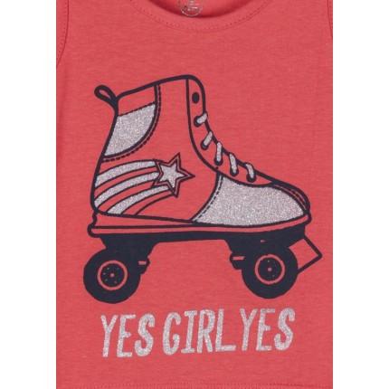 Detalle estampado Camiseta Losan Kids niña Yes Girl Yes! tirantes