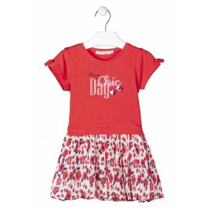 Vestido Losan Kids niña manga corta con falda plisada