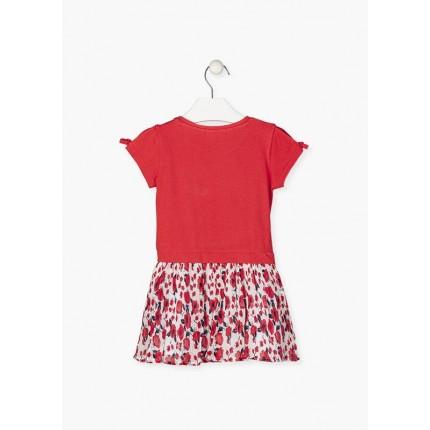 Espalda Vestido Losan Kids niña manga corta con falda plisada