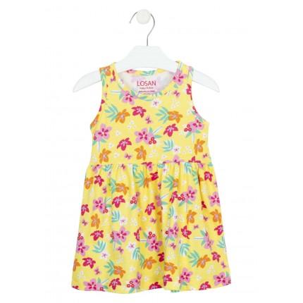 Vestido Losan Kids niña infantil punto liso sin mangas estampado