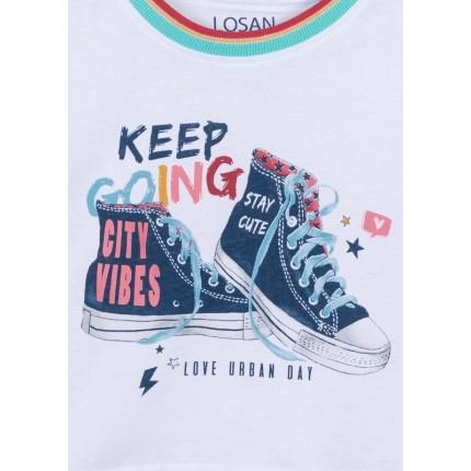 Detalle estampado Camiseta Losan niña junior Love Urban Day manga corta