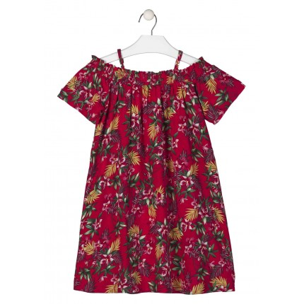 Vestido Losan niña junior manga corta en volile estampado