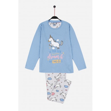 "Pijama Mr.Wonderful niña junior manga larga If you can dream it you can do it ""Si puedes soñarlo puedes hacerlo"""