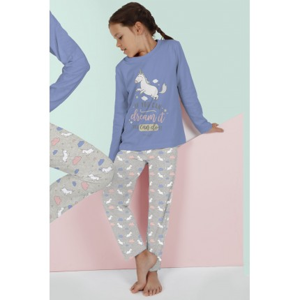 "Modelo con Pijama Mr.Wonderful niña junior manga larga If you can dream it you can do it ""Si puedes soñarlo puedes hacerlo"""