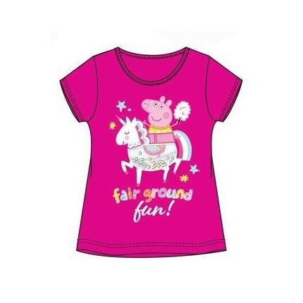 Camiseta Peppa Pig manga corta estampado niña fucsia