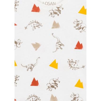 Detalle estampado de Camiseta Losan kids niño infantil Dinos manga corta