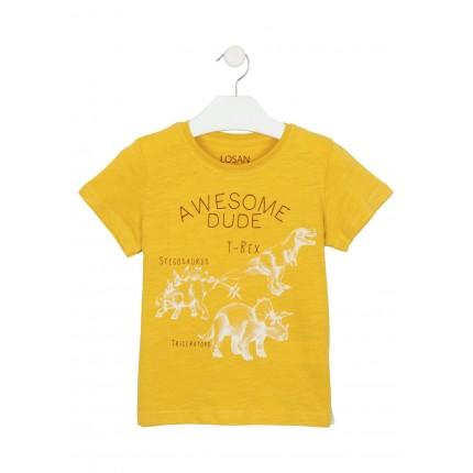 Camiseta Losan kids niño infantil Dinosaurio T-Rex manga corta