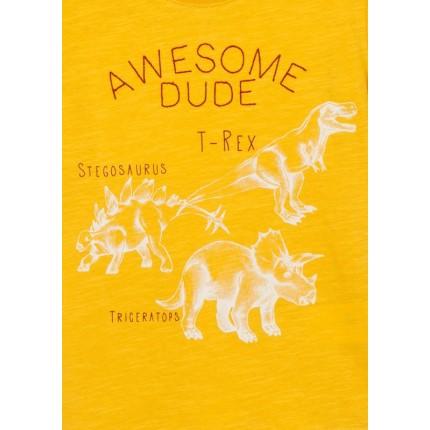 Detalle estampado Camiseta Losan kids niño infantil Dinosaurio T-Rex manga corta