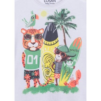 Detalle estampado Camiseta Losan kids niño infantil Pirates of Surf manga corta