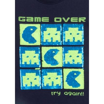 Detalle de lentejuelas de Camiseta Losan kids niño infantil Game Over manga corta