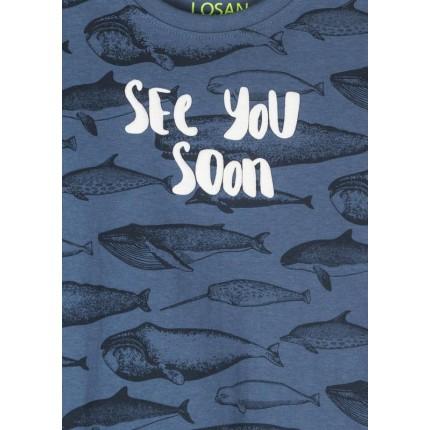 Detalle dibujo y estampado de Camiseta Losan kids niño See You Soon manga corta